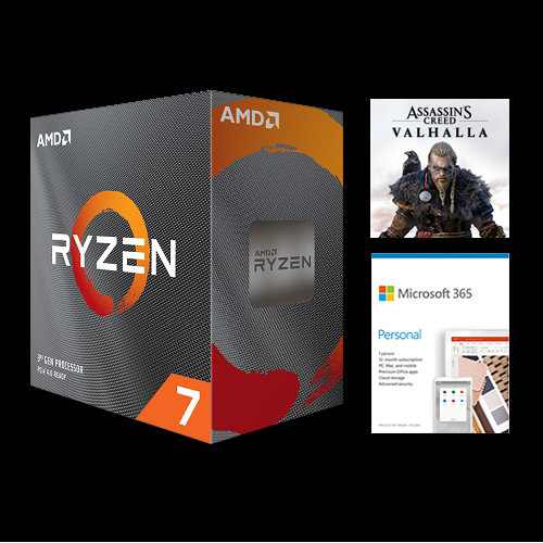 AMD Ryzen 7 3800XT Unlocked Desktop Processor without cooler + Microsoft 365 Personal 1 Year Subscription For 1 User + Assassin's Creed Valhalla Ryzen Token Code