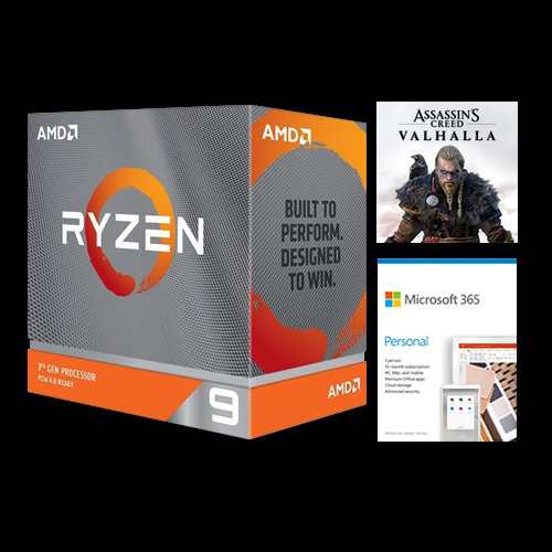 AMD Ryzen 9 3900X Unlocked Desktop Processor w/ Wraith Prism LED Cooler + Microsoft 365 Personal 1 Year Subscription For 1 User + Assassin's Creed Valhalla Ryzen Token Code