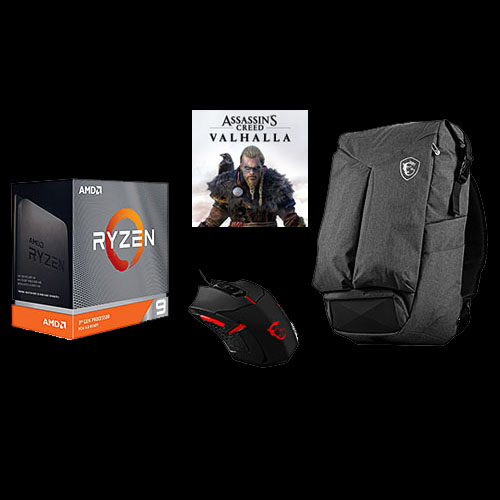 AMD Ryzen 9 3900XT Unlocked Desktop Processor + Assassin's Creed Valhalla Ryzen Token Code + MSI Air Gaming Backpack + MSI Interceptor Gaming Mouse