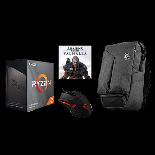 AMD Ryzen 7 3800XT Unlocked Desktop Processor + Assassin's Creed Valhalla Ryzen Token Code + MSI Air Gaming Backpack + MSI Interceptor Gaming Mouse